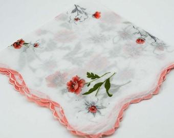 "Vintage Hankie 12 1/2"" Peach White Floral Hankie #I-25"