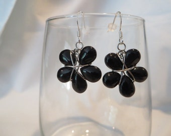Black Flower Earrings, Earrings, Flower