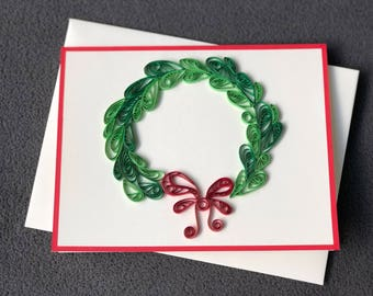 Handmade Christmas Quilling Card with Christmas Wreath; Christmas Wreath Greeting card; Happy Holidays Card