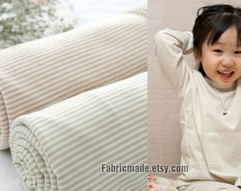 "100% ORGANIC Cotton Fabric, White Brown Tan Stripe Knit Cotton Fabric For Baby Kids - 1/2 Yard 63""x18"""