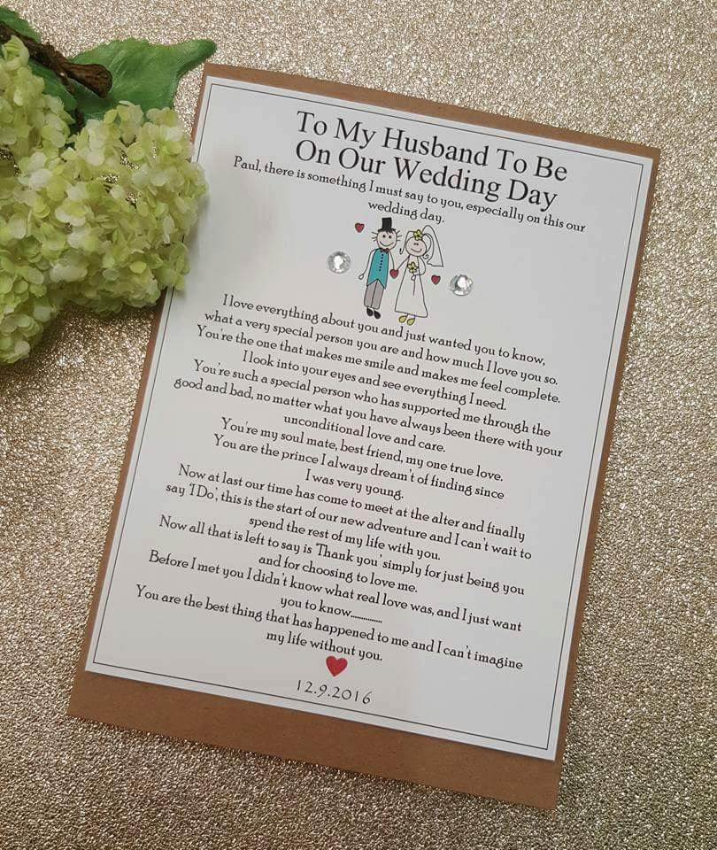 Gift For My Husband On Our Wedding Day: Groom Wedding Day Card Personalised Keepsake Card On Our