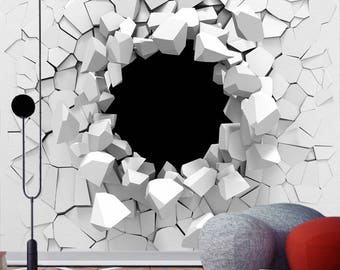 3D Wall Decal ** Shards of the White Wall** / Peel and Stick Wallpaper / 3D Wall Mural / 3D Wall Sticker / Self-adhesive Wallpaper