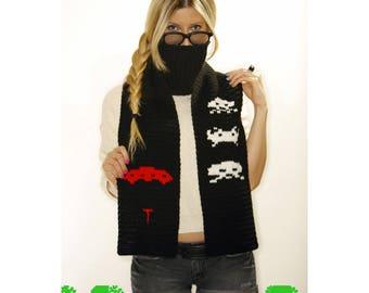 Space Invaders Alien team scarf - PDF crochet pattern