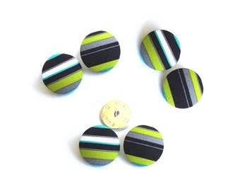 Striped buttons x 6 fabric by Michael Miller play stripe size optional