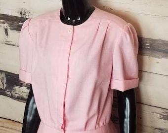 Vintage Pink Sherbet Skirt Suit Pencil Skirt Peplum Jacket Button Front Short Sleeves 38 Bust 30 Waist