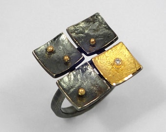 Geometric ring with oxidized silver and 22K gold with a diamond and 18K gold granules, Square ring, Silver gold ring, Hammered ring