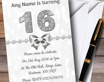 White Bokeh & Silver Glitter Look 16Th Personalised Birthday Party Invitations