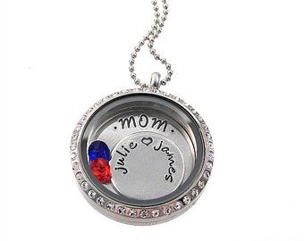 Personalized Charm Locket / Mom Floating Locket / Memory Locket / Hand Stamped Jewelry
