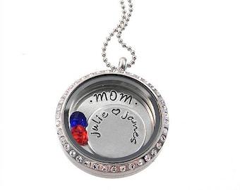 Personalized Charm Locket / Mom Floating Locket / Memory Locket / Hand Stamped Jewelry