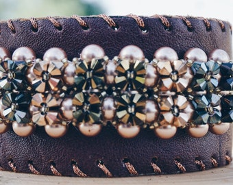 Brown Leather cuff bracelet, Swarovski Crystal, Swarovski Pearls,