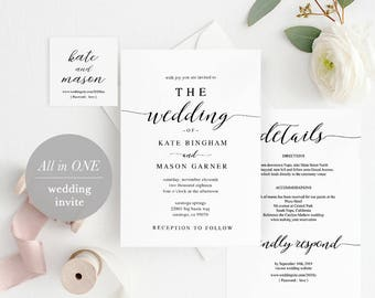 Printable Wedding Invitation Template, Wedding Invitation Front Back, All in One Wedding Invite, Download, Modern Calligraphy #SPP007wi1