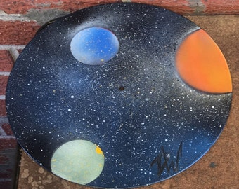 Spray painted galaxy vinyl