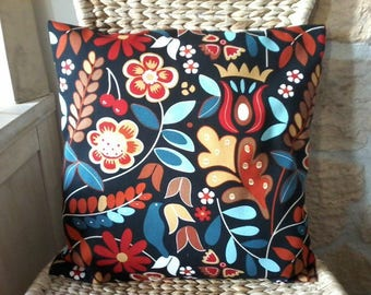 Cushion pattern flowers and leaves style Scandinavian 40 x 40 red and blue tone