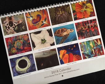 2018 Art Wall Calendar with colorful original paintings of Giraffe, birds, Greenman, flowers, abstracts, sea turtles and solar eclipse