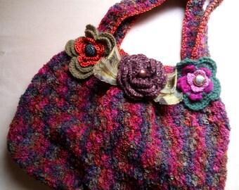 Chenille crocheted velvet bag with flowers-handmade-stylish boho chic romantic style-Bordeaux