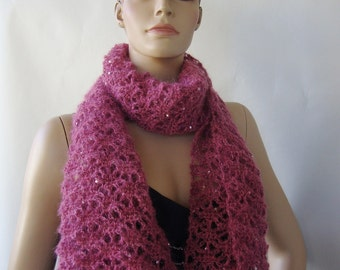 Girlfriend Gift, Best Friend Gift, Sequin Scarf, Crochet Scarf, Crocheted Scarves, Scarves, Mauve Scarf, Mohair Scarf, Mom Christmas Gift