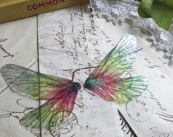 NEW Pretty Green and PInk Rainbow faerie wings