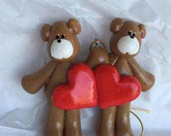 LAST ONE...RETIRING...Personalized Bear Couple with Hearts Christmas Ornament / Bear / couple  / Best Friends