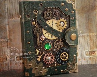 "Mother day gift Steampunk journal Blank journal Blank book Engineer gifts ""If there is no time"" Dark green blank notebook A6 vegan notebook"