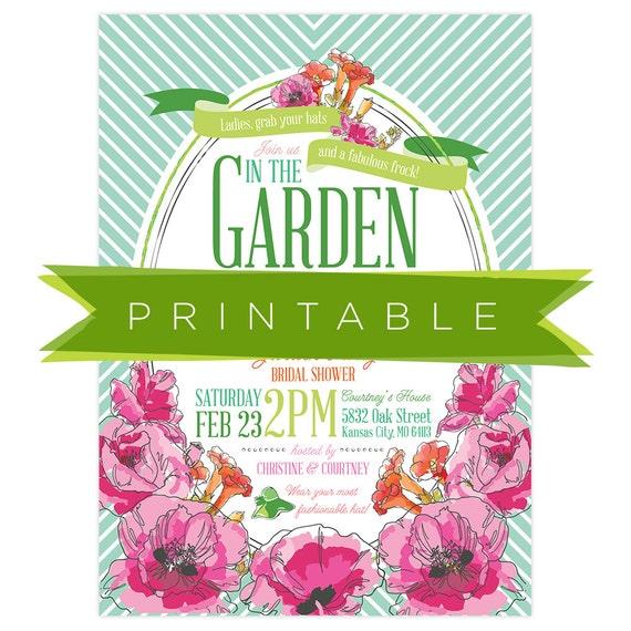 derby garden party bridal shower invitation printable. Black Bedroom Furniture Sets. Home Design Ideas