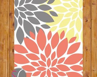 Flower Coral Yellow Grey Baby Nursery Wall Art Bathroom Bedroom Decor 8x10 Digital JPG File (191)