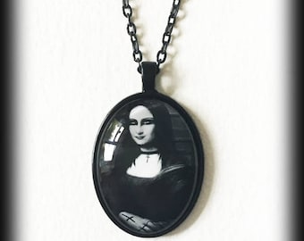 Mona Lisa Necklace, Glass Cameo Pendant, Handmade Gothic Jewelry, Gift Idea, Gothic Jewelry, Alternative Jewelry, Art Necklace