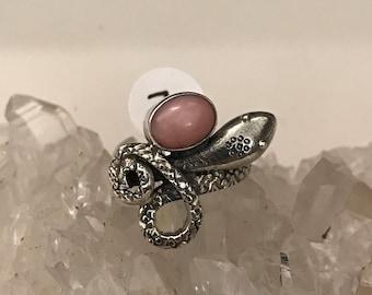 Snake Pink Opal Ring, Size 7