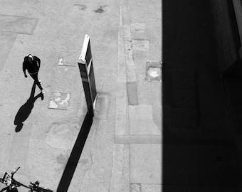 Street Black And White Photo, Aerial Photography, Framed Wall Art, Urban Print, Home Decor Wall Art, Decor Art, Shadow Print, Printables