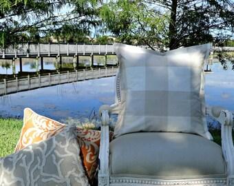 P Kaufmann Pillow Cover/ 20x20 Buffalo Check/ Accent Pillow/ Decorative Pillow/ Toss Pillow Designer Linen Pillow Cover