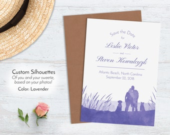 Watercolor Lake Save the Dates, Beach Wedding Announcement, Custom Illustrated Personalized Silhouettes Recycled Nautical Purple Lavender