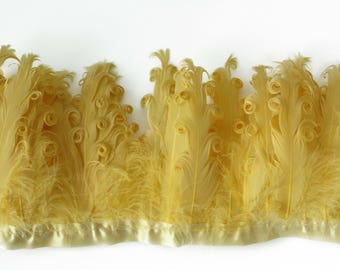 Mustard Curled Goose Feathers on ribbon trim for Millinery