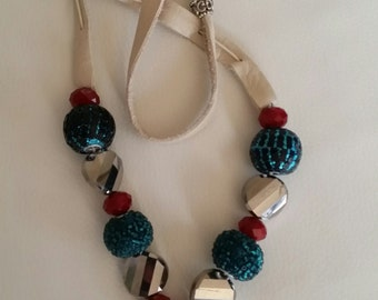 Leather, bead CZ in silver
