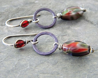 Marbled Purple Glass Copper Earrings Purple Patina Copper Circle Links Ruby Red Glass Sterling Silver Artisan Jewelry