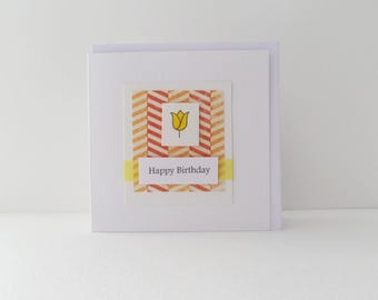 Happy Birthday Card, Yellow Tulip, simple cards, White square card, cute handmade card, hand stamped and coloured.