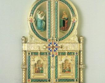 Wedding Icon, Wall Decor, Soviet, Christian Gifts, USSR, Christian Wall Art, Christian Art, Christian Prints, Faberge Decor, Christian Decor