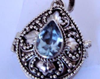 Sky Blue Topaz Tear Drop Locket Pendant Bali Sterling Silver Keepsake Chain Necklace PL12