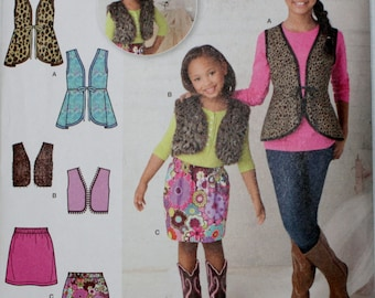 Simplicity 1786 Child's and Girls' Vest and Skirt Sewing Pattern New/Uncut Size 7,8,10,12,14