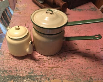 Vintage enamelware teapot and double broiler sauce pan FREE SHIPPING