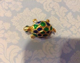 Vintage turtle brooch Enamel Turtle Pin