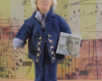 Country Music Singer Charlie Rich Miniature Art Doll Collectible