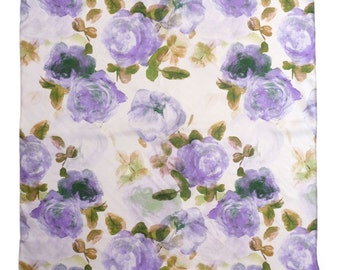 Hand Painted Purple and Lilac Watercolour Floral Print Square Silk Scarf, Rose Print. Ladies Scarf Gift. Painterly. Romantic. spring