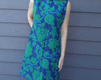 BLUE and GREEN mod SHIFT dress 1960's 60's M L (B1)