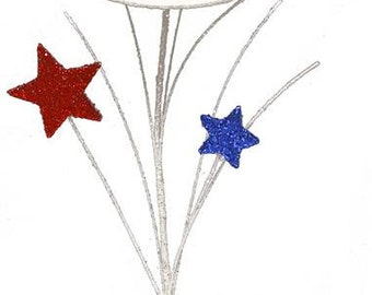 "12.5""L  Red/White/Blue-Glitter Hat/Star/ Pick/Patriotic Pick/Wreath Enhancement/Set of 6/HJ0015"