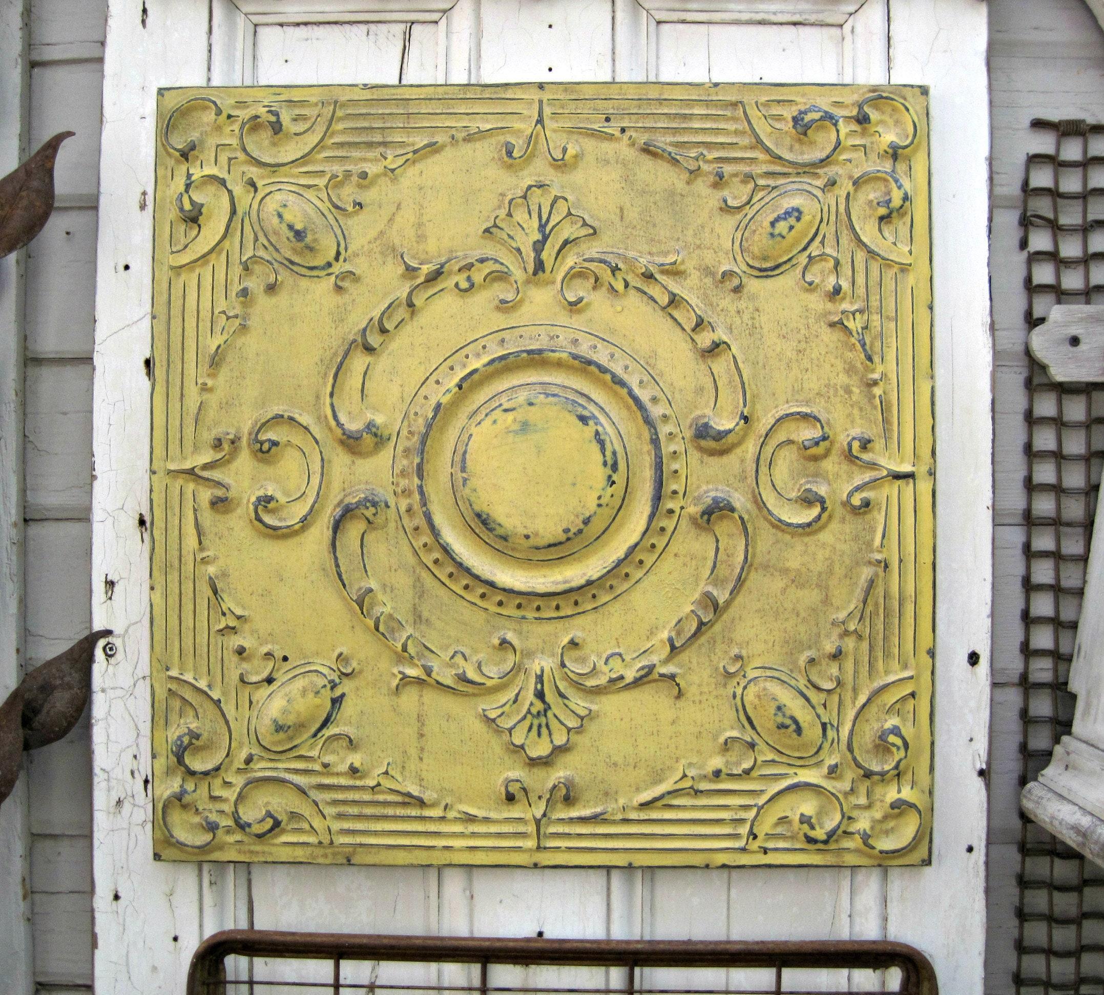Antique Ceiling Tin Tile. FRAMED. Original 1900\'s Paint.