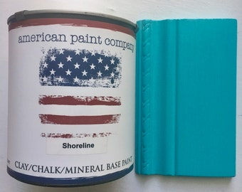 Shoreline turqouise color American Paint Company APC chalk clay paint DIY quart furniture distress shabby chic qt