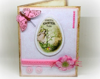 Easter Card - Handmade Vintage Style Happy Easter Greeting Card - Shabby Chic - Pink Butterfly Card - Victorian Style Keepsake Spring Card