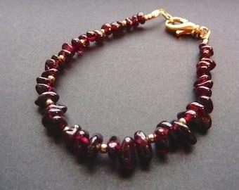 Garnet Bracelet Garnet and Gold Bracelet