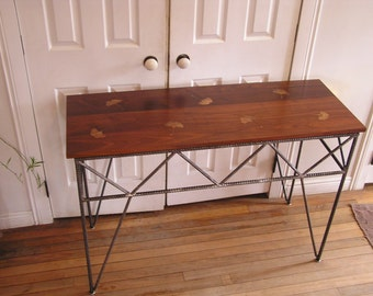 Rustic Industrial Side Table Custom Sofa Rebar Table Inlaid Copper Ginkgo Leaves