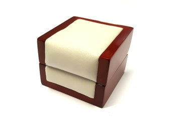 Wooden Ring Box, Jewelry Box made from Leather and Wood for Engagement Rings