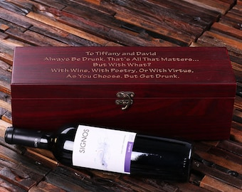 Personalized 5pc Wine Accessories  Tool Kit Gift Set Engraved or Monogrammed on Cherry Wood (024449)